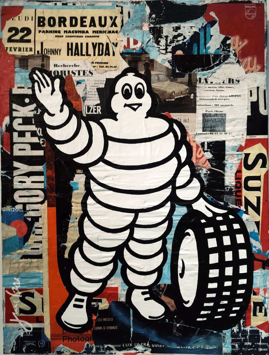Bibendum - collages sur toile 120x89 cm - LAURENT DURREY